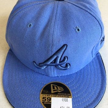 ICIKIHN ATLANTA BRAVES MLB NEW ERA 5950 SKY BLUE FITTED HAT