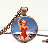 Pinup Girl Necklace : Water Skiing