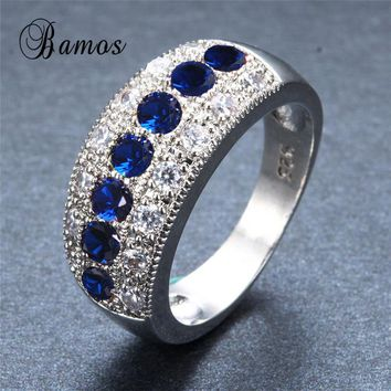 Bamos Exquisite September Birthstone 925 Sterling Silver Filled Wedding Rings For Women Men Blue Crystal Zircon Best Birth Gifts