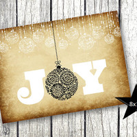 Christmas Decor Holiday Xmas Vintage Classic Holiday Printable Picture Joy vintage rustic background with black white holiday ornaments 8x10