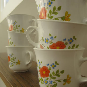 1970s Correlle/Corning Wildflower Pattern Cups - Set Of 6
