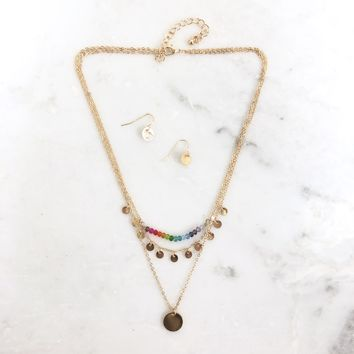 Color Mine Layered Necklace and Earrings Set