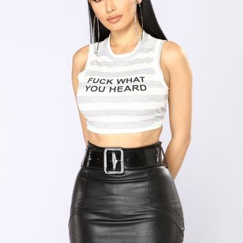What Did You Hear Ribbed Crop Top - Grey/White