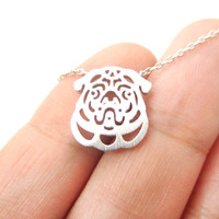 Pug Puppy Dog Face Cut Out Shaped Pendant Necklace in Silver   Animal Jewelry