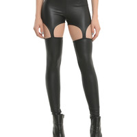 Black PU Strap Leggings