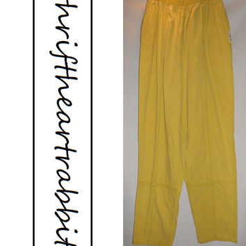Vintage 80s Cherokee Parachute Pants Mustard with Pockets Size 22W