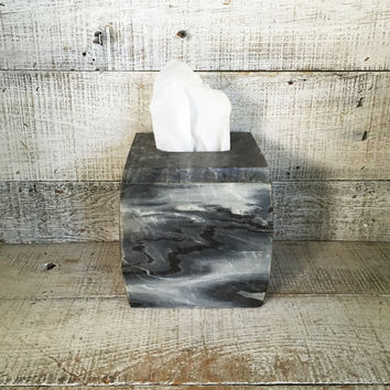 Tissue Box Cover Real Marble Tissue Box Holder Hollywood Regency Tissue Cover Mid Century Stone Tissue Box Holder Stone Bathroom Decor