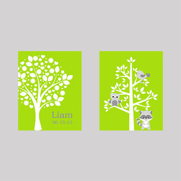 Tree on Lime Green Name Tree with Animals Owl Raccoon CUSTOMIZE YOUR COLORS 8x10 Prints Set of 2, nursery decor nursery print art baby decor
