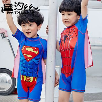 Sexy Kids Swimsuits Bikini For Children's Swimwear Boys 2018 New Children Superhero Spider Man Cute Boy Rayon Solid Sierra