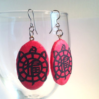 Turtle Hanji Paper Earrings Dangle Hot Pink Fuchsia Navy Design Good Luck Fortune Hypoallergenic hooks Lightweight Ear rings