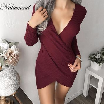 Long Sleeve Body Con Dress Women Autumn Winter V-Neck Casual Dress Women Club Party Dresses