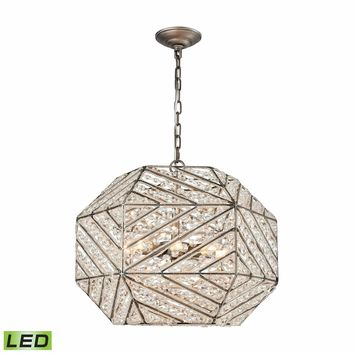Constructs 8 Light LED Chandelier In Weathered Zinc