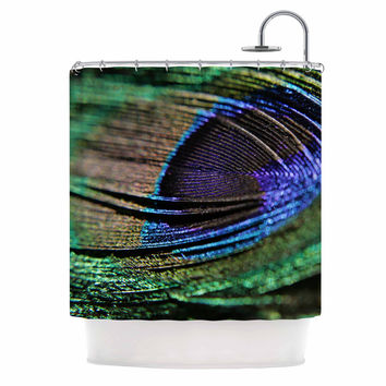 "Angie Turner ""Peacock Feather"" Green Blue Shower Curtain"