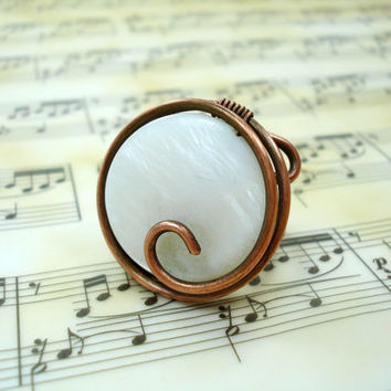 Wire wrap ring, copper ring, ring in handmade, wire ring, women ring, handmade ring, handmade copper ring, copper jewelry, circular ring