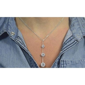 Swarovski Crystals 3 Ball Drop Crystal  Necklace