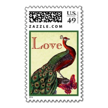 Green and Red Wedding LOVE Peacock Postage
