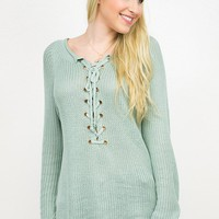 Lace Up Front Detail Loose knit Top