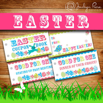 Printable Easter Coupon Book: Easter basket gift idea, Activities + Blank, Kids Personalized Easter present (Instant digital download - PDF)