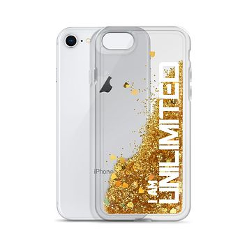 """"""" I AM UNLIMITED"""" Positive Motivational & Inspiring Quoted Liquid Glitter iPhone Mobile Case"""