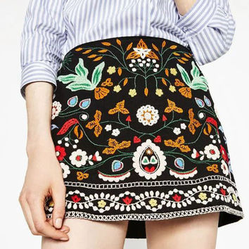 Black High Waist Embroidered Skirt
