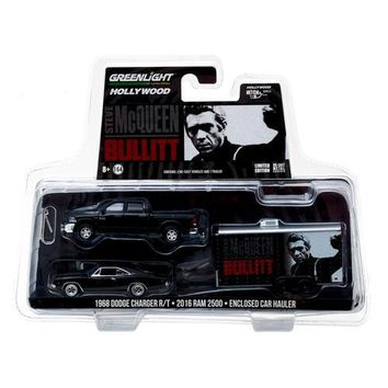 2016 Dodge Ram 2500 and 1968 Dodge Charger R/T Bullitt (1968) in Enclosed Car Hauler 1/64 Diecast Model Cars by Greenlight