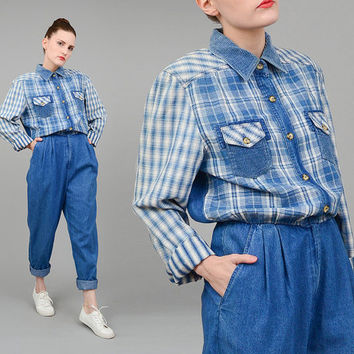 FALL SALE 90s Chambray Denim Jumpsuit Plaid Flannel Button Up Shirt High Waist Pantsuit Boyfriend Grunge Romper Medium Large M L