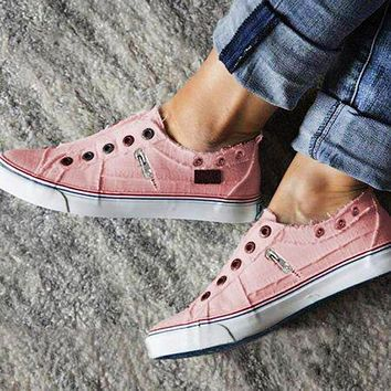 Fashionable zipper canvas shoes two-color casual flat shoes Pink