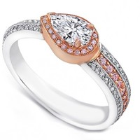 Engagement Ring - Pear Shape Diamond Pink Diamonds Halo Engagement Ring - ES1254
