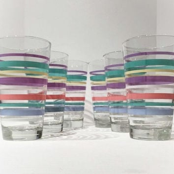 Set of 6 Pastel Striped Tumblers, Vintage Libbey Tall Glass Pastel Striped Tumbler Set, 6 Libbey Trumpet Shaped Striped Pastel Tumblers