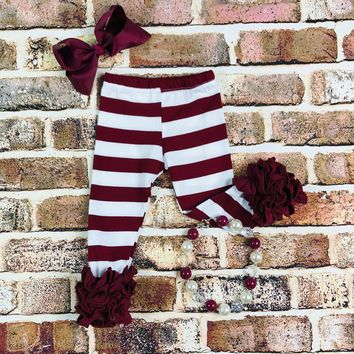 RTS Cranberry Striped Ruffled Leggings D97