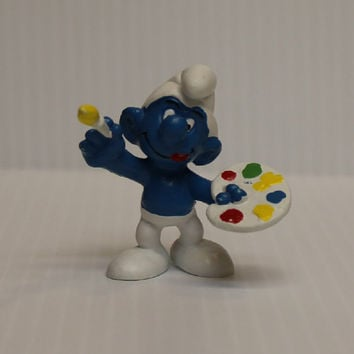 SMURF ARTIST FIGURE, Smurf painting figure, smurf with palette, 1975 Vintage Schleich figure, gift for artist, 1980s collectible toy