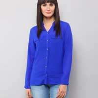 Luiza Shirt Style Top - Blue Online Shopping | 64767