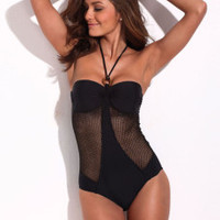 Black Contrast One Piece Swimsuit