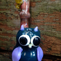 Hand-Sculpted Glass Owl Art Pipe