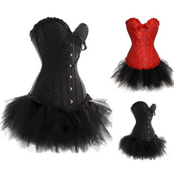 CJUN Plus Size Sexy Black Corset Dress Basques TUTU Lingerie Lace Up A018+7008 Size Small To 6XL In Stock = 1958313476