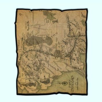 Custom Fleece Blanket Map Of Middle Earth Lord Of The Rings Cool Vintage The Hobbit