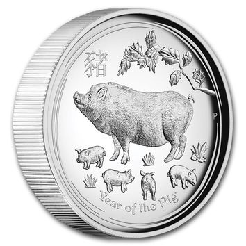 2019 Australia 1 oz Silver Proof Lunar Pig (High Relief, Box & COA)