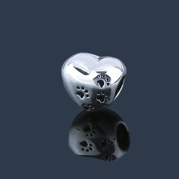 Cute Pawprints on your Heart Silver Plated Beads