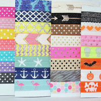 Hair Ties ~ 50 Pack GRAB BAG PATTERNS Handmade Trendy Ponytail Holders Knotted Stretchy Elastic Yoga Hair Bands