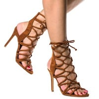 AMICA LACE UP SANDAL - TAN