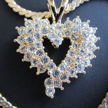 Goldtone Crystal Signed Heart Pendant on Heavy 1/20 12k Goldfilled Serpentine Chain 24""