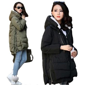Winter Women Plus Size Maxi Jacket Military Parka Long Zipper Thick Female Hooded Cotton Padded Casual Warm Coat Outerwear F777