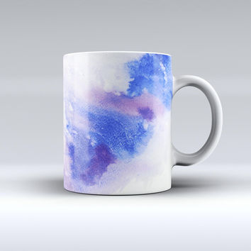 The Blue and Pink Watercolor Spill ink-Fuzed Ceramic Coffee Mug