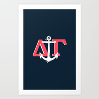 Delta Gamma Navy White Art Print by SororityProject