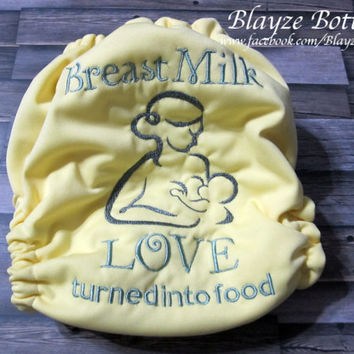 Please READ HOW to ORDER Breast Milk Love Turned Into Food One Size Pocket Diaper or Diaper Cover