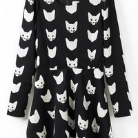 Cat Long Sleeve A-line Dress