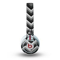 The Gray Toned Layered Chevron Pattern Skin for the Beats by Dre Mixr Headphones