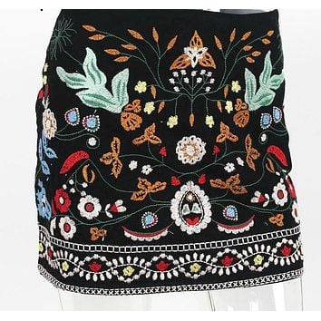 Retro Embroidery Floral Skirt