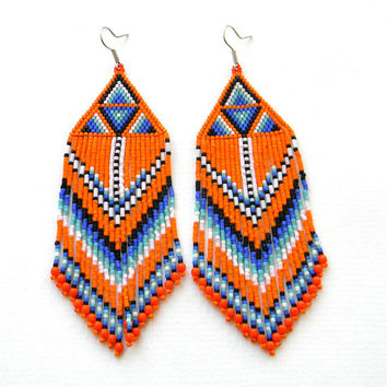 Large orange seed bead earrings - beadwork earrings - beaded jewelry - Native American inspired (not made!)