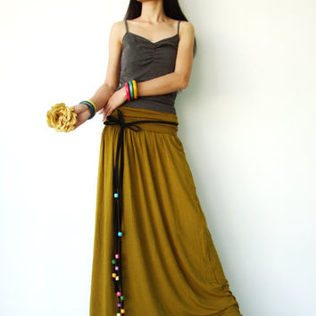 NO.107  Mustard Rayon Spandex Foldover Long Skirt Strapless Maxi Dress
